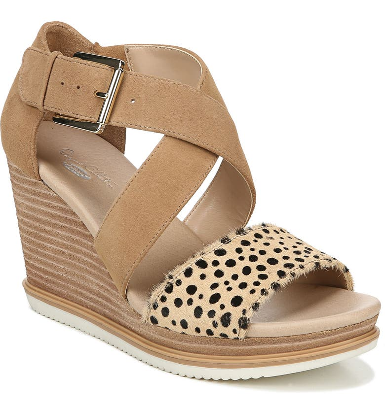 DR. SCHOLL'S Sweet Escape Wedge Sandal, Main, color, NUDE LEATHER/ CALFHAIR