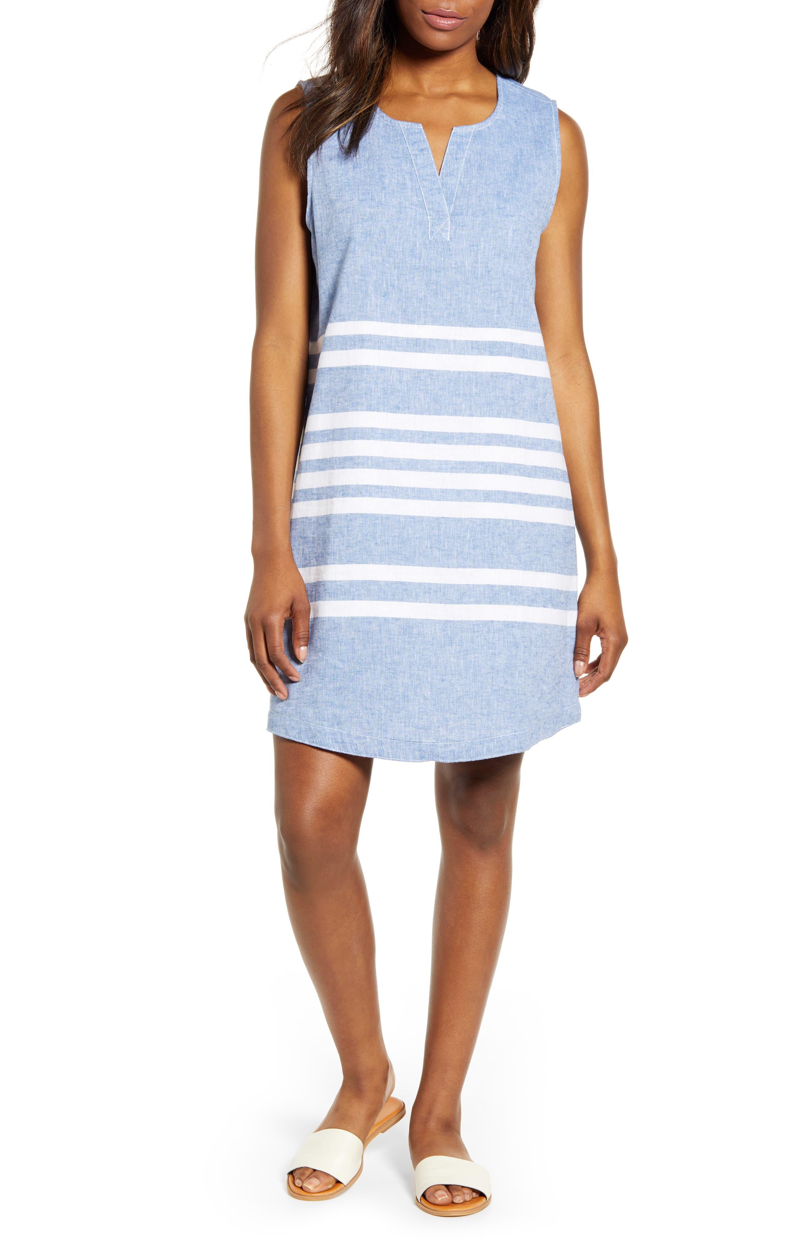 Beachlunchlounge Jaylene Stripe Sleeveless Linen & Cotton Shift Dress, Blue
