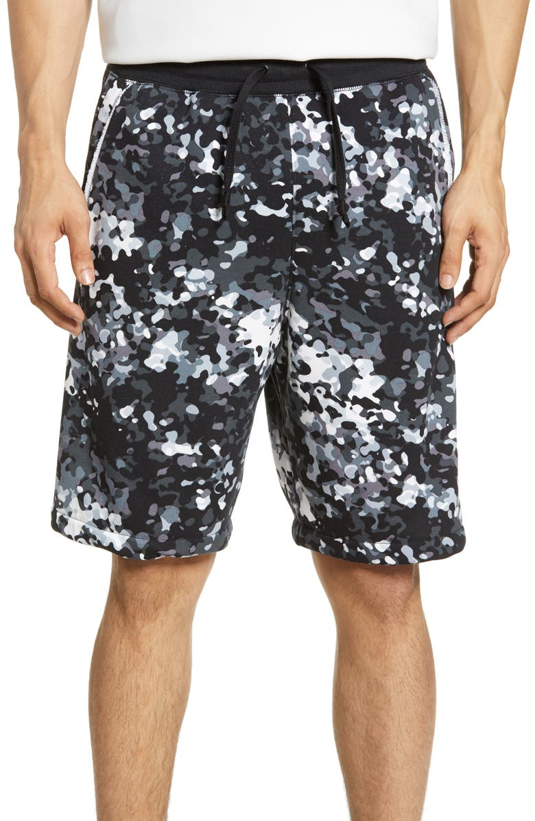 NIKE Sportswear Alumni Camo Shorts, Main, color, BLACK/ WHITE