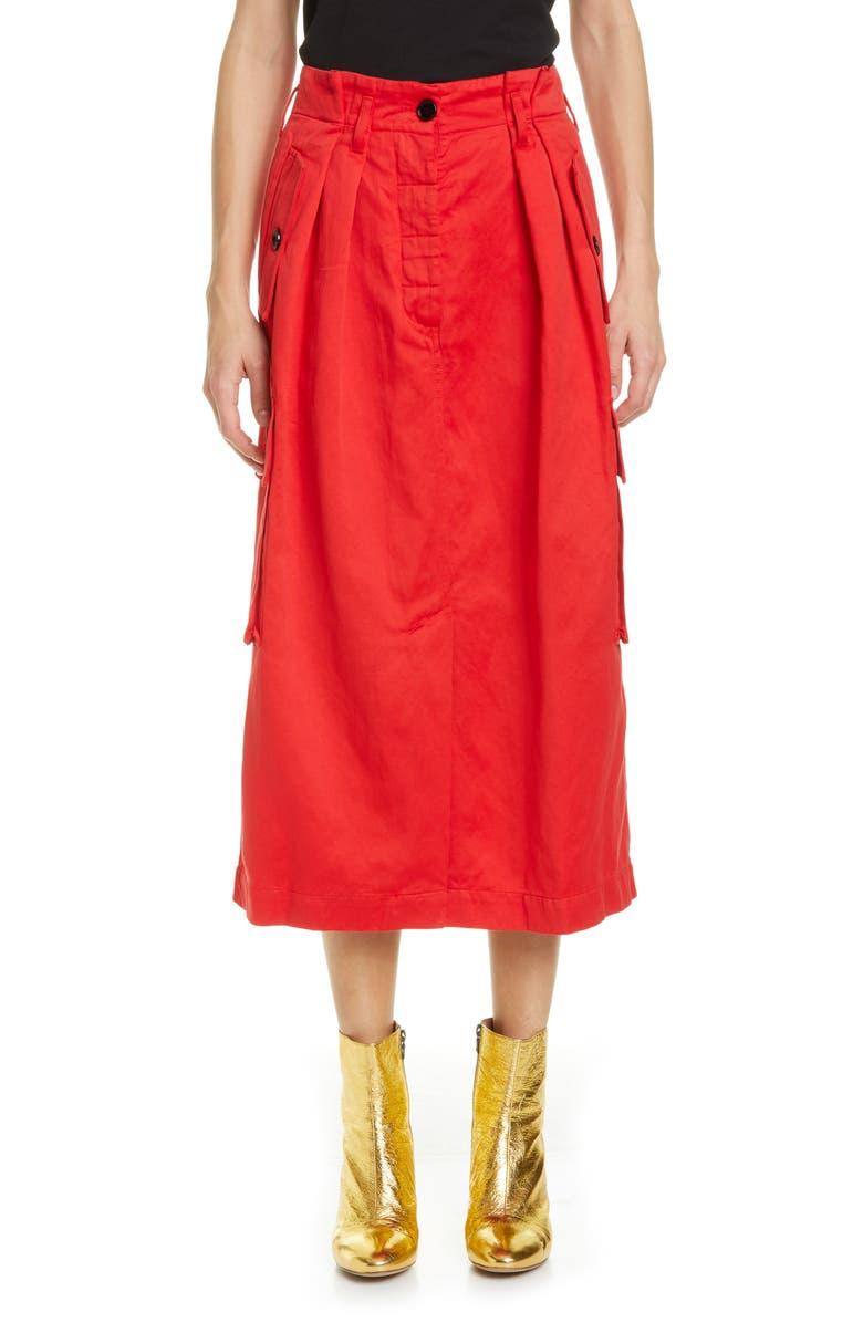 DRIES VAN NOTEN Savannah Cotton & Wool Midi Cargo Skirt, Main, color, RED