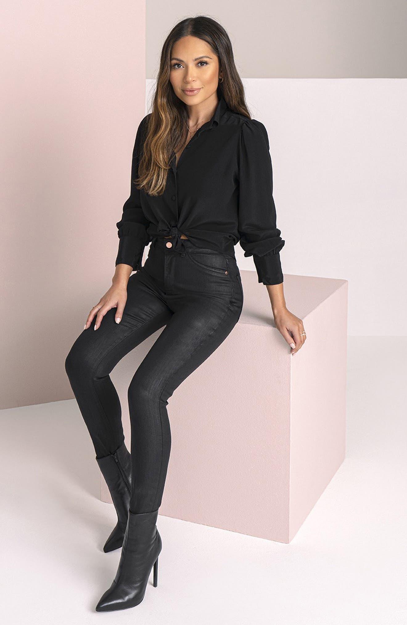 DL1961 x Marianna Hewitt Instasculpt Farrow High Waist Ankle Coated Skinny Jeans (Sonoma)