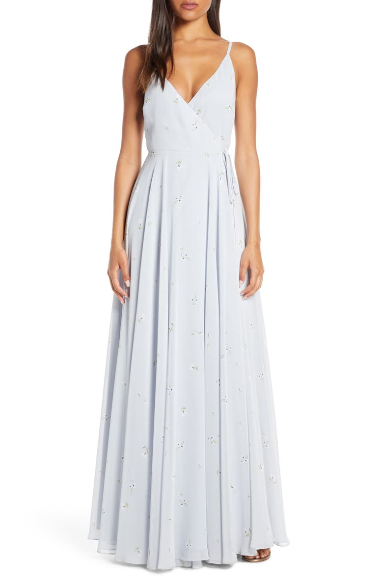 JENNY YOO James Ditsy Floral Print Wrap Chiffon Evening Gown, Main, color, WHISPER BLUE