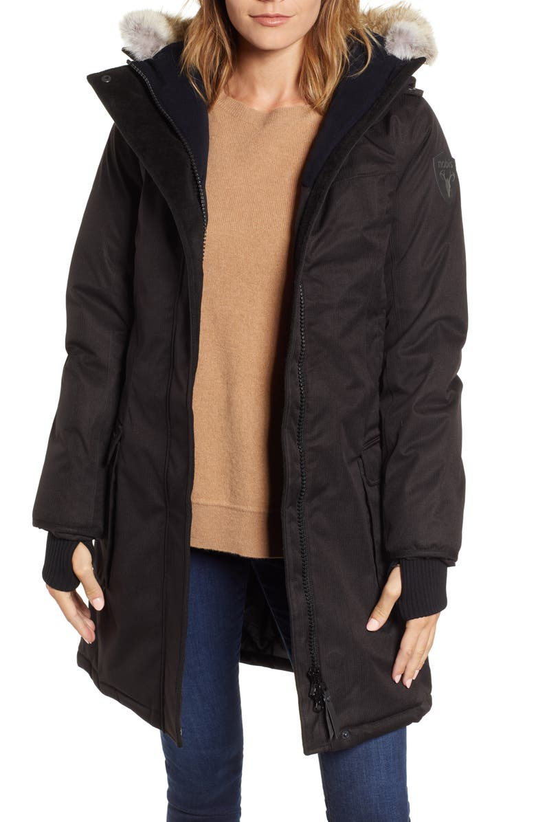 NOBIS Abby Hooded Down Parka with Genuine Coyote Fur Trim, Main, color, BLACK