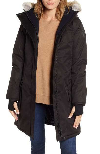 Nobis Abby Hooded Down Parka With Genuine Coyote Fur Trim In Black