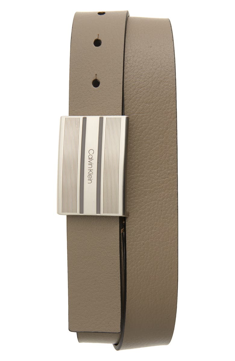 CALVIN KLEIN Faux Leather Belt, Main, color, GREYSTONE