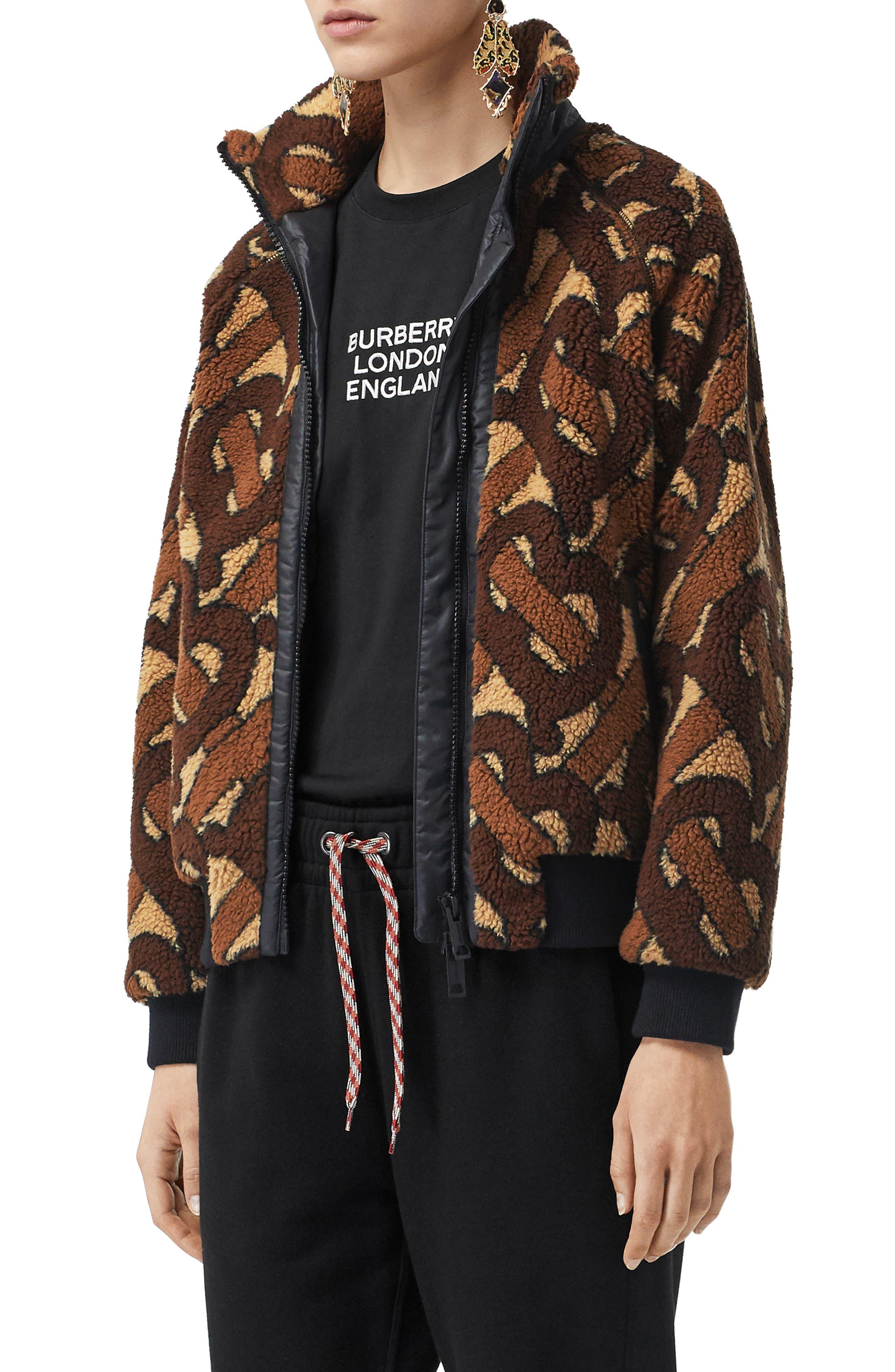 Burberry Coats Large TB Logo Zip Front Fleece Jacket