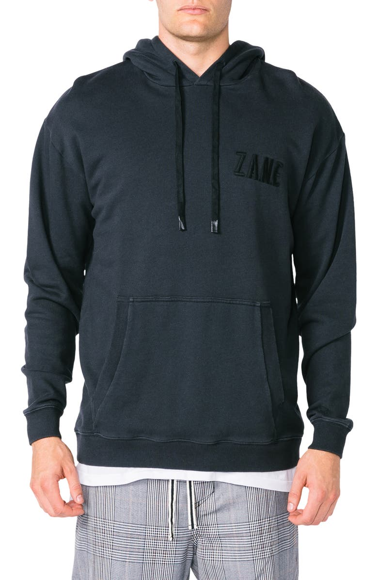 ZANEROBE Rugger Oversize Embroidered Hoodie, Main, color, SMOKEY BLACK