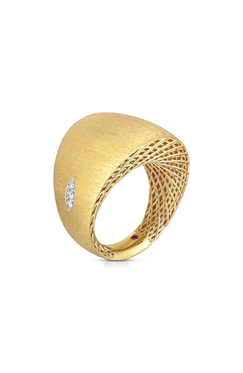 ROBERTO COIN Golden Gate Pavé Diamond Ring, Main, color, YELLOW GOLD