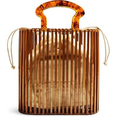 Topshop Flint Wooden Tote Bag - Brown