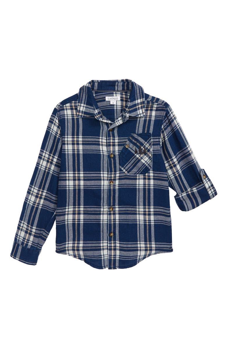 FLAPDOODLES Woven Button-Up Flannel Shirt, Main, color, BLUE