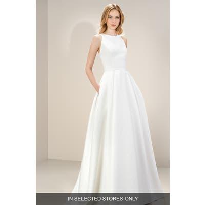 Jesus Peiro Daphne Sleeveless Strap Back Satin Gown, Size - Ivory