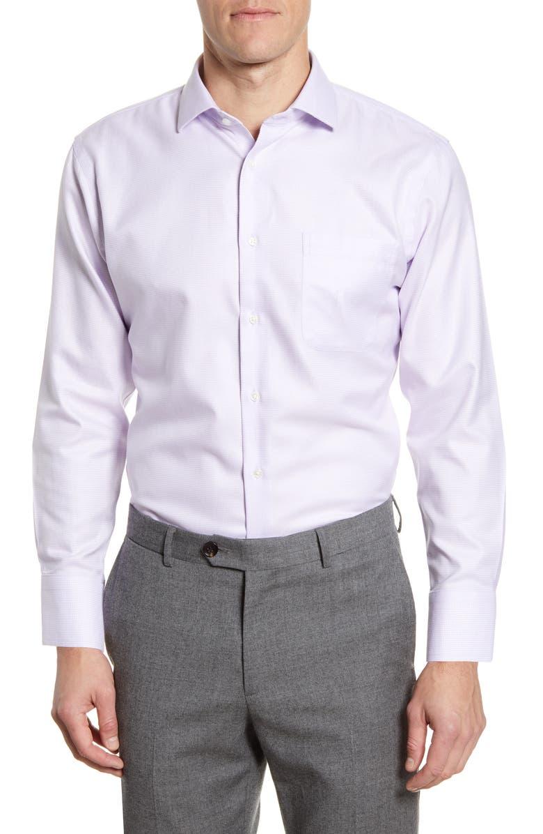 NORDSTROM Men's Shop Trim Fit Non-Iron Houndstooth Dress Shirt, Main, color, PURPLE SECRET