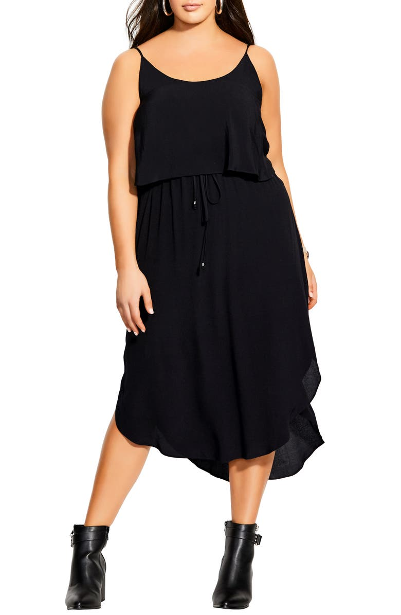 CITY CHIC Tiered Midi Dress, Main, color, 001