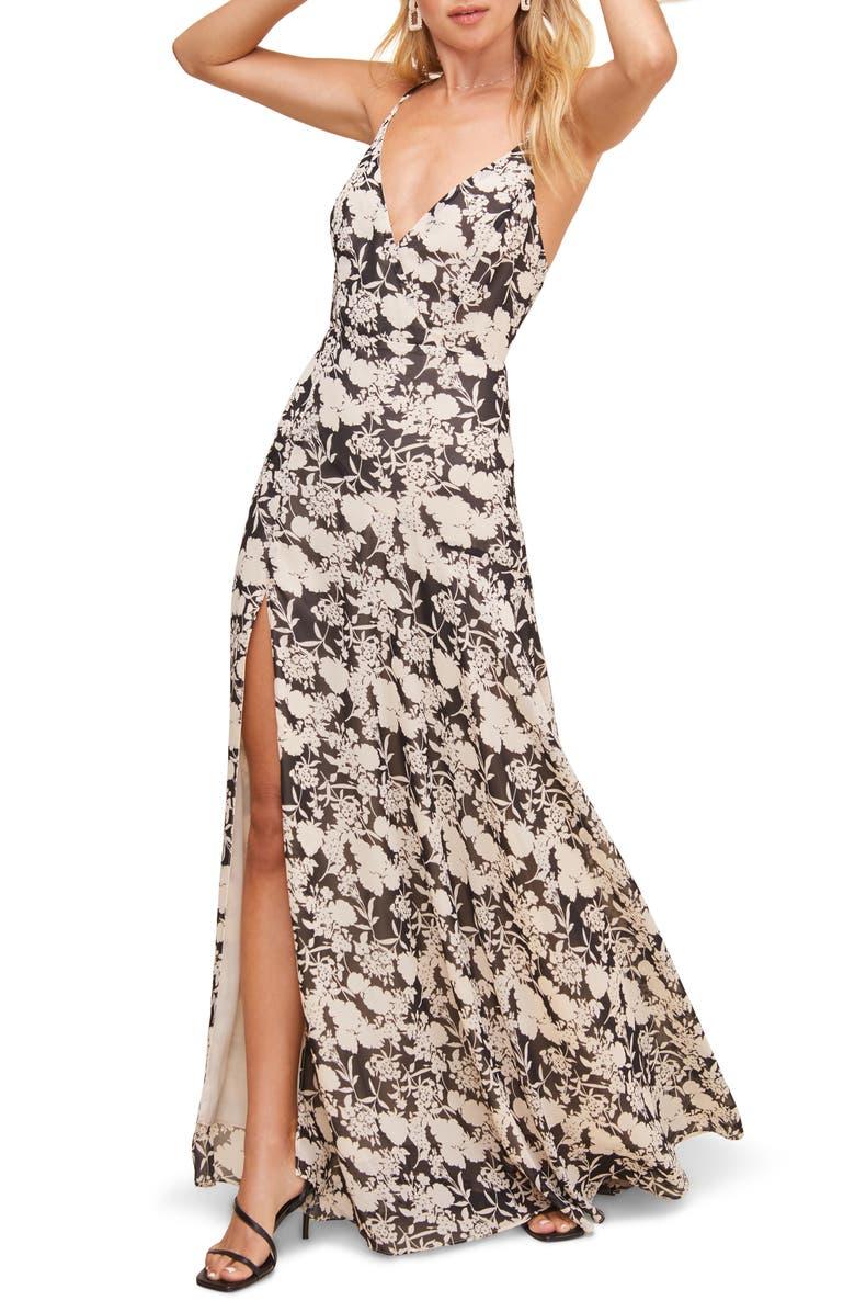 ASTR THE LABEL Pandora High Slit Floral Print Maxi Sundress, Main, color, 001