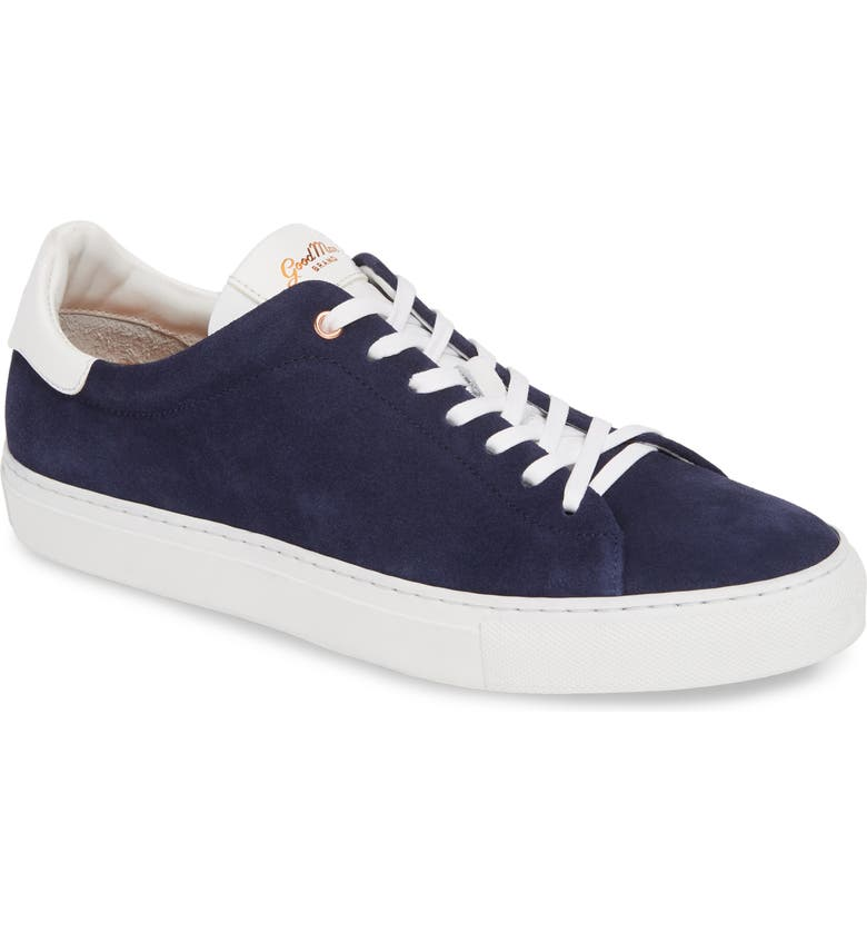 GOOD MAN BRAND Legend Lo Sneaker, Main, color, NAVY/ WHITE CALF SUEDE