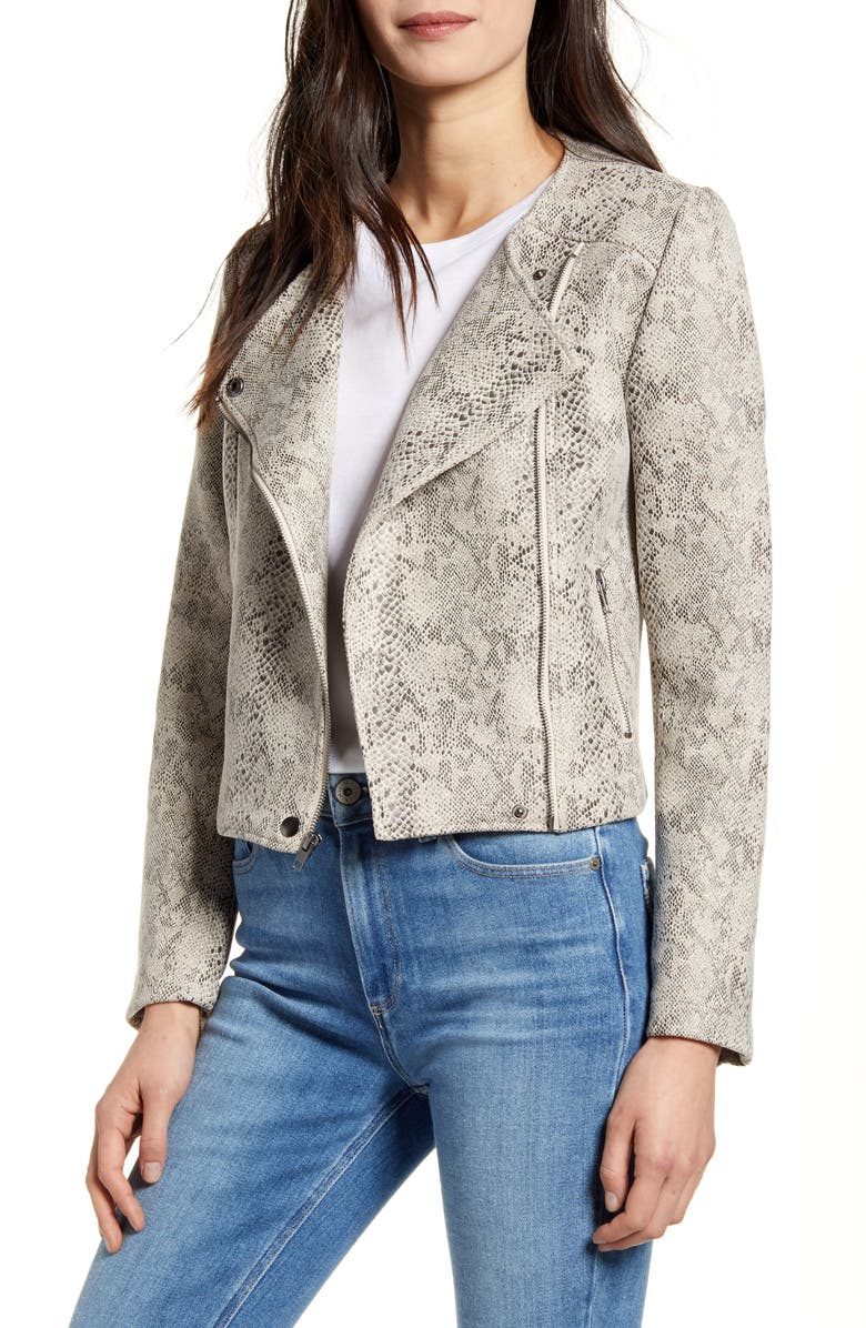 CUPCAKES AND CASHMERE Snake Print Faux Suede Moto Jacket, Main, color, LATTE