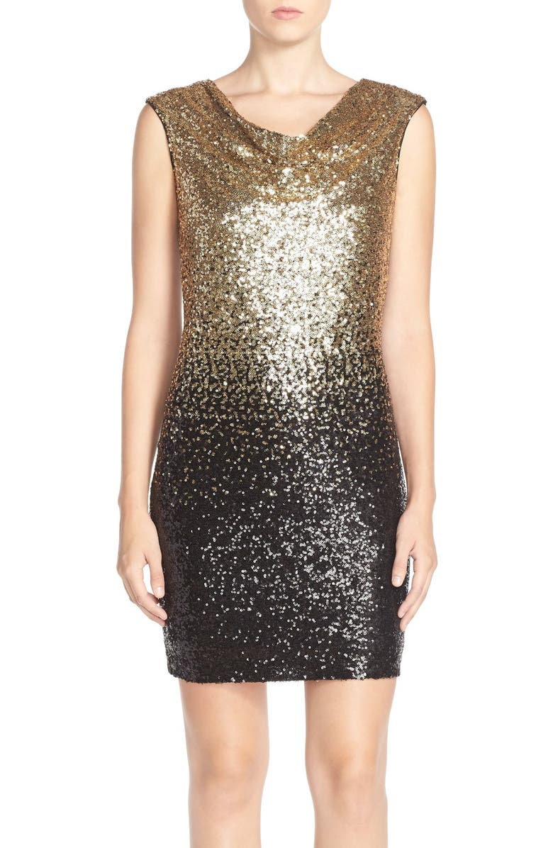 MAIA Ombré Sequin Sheath Dress, Main, color, 710