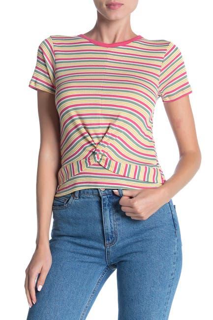Image of Modern Designer Striped Twist Front T-Shirt