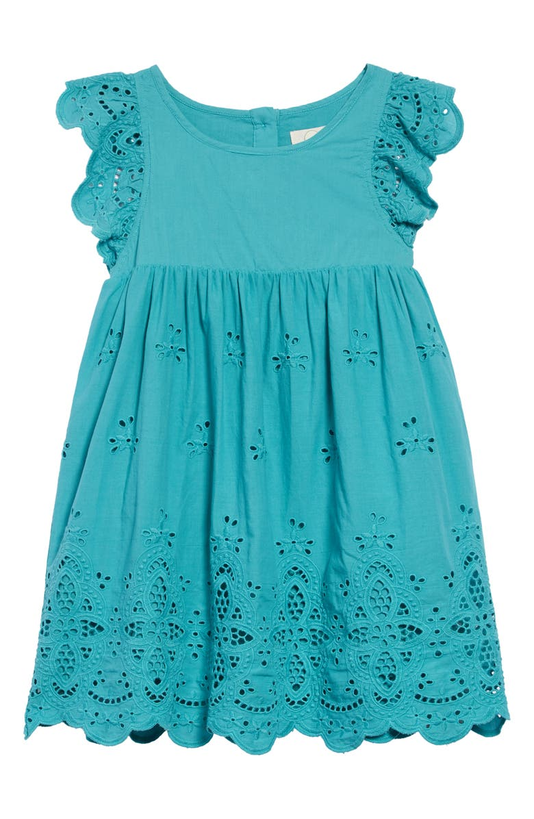 PEEK AREN'T YOU CURIOUS Michele Eyelet Embroidered Dress, Main, color, 400