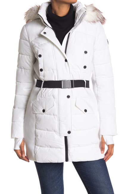 Image of Michael Kors Belted Faux Fur Hood Quilted Jacket