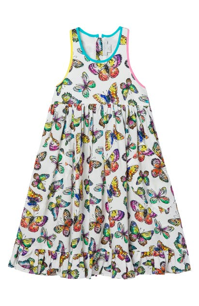 Stella Mccartney KIDS' BUTTERFLY PRINT SLEEVELESS RUFFLE HEM DRESS