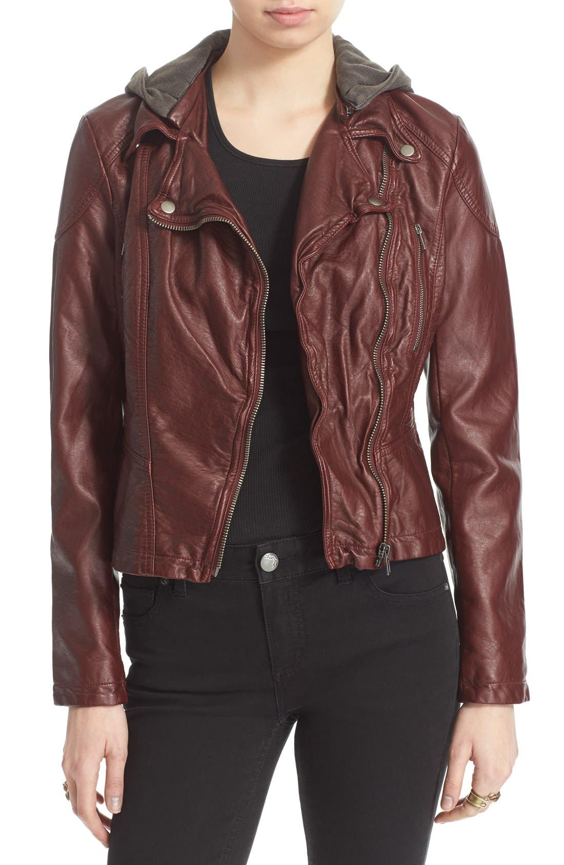 ,                             Hooded Faux Leather Moto Jacket,                             Main thumbnail 4, color,                             600