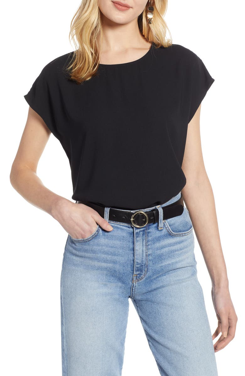 HALOGEN<SUP>®</SUP> Cap Sleeve Blouse, Main, color, BLACK