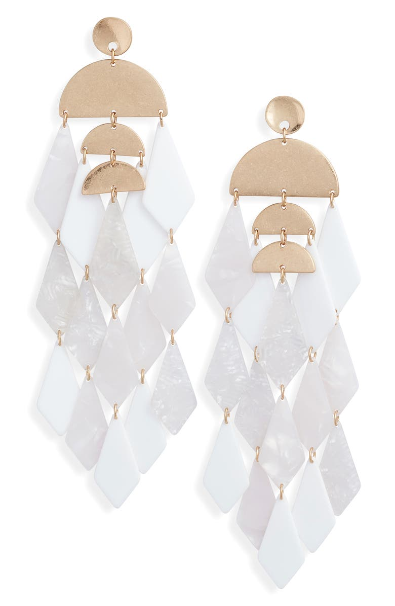 STELLA + RUBY Merengue Resin Drop Earrings, Main, color, 100