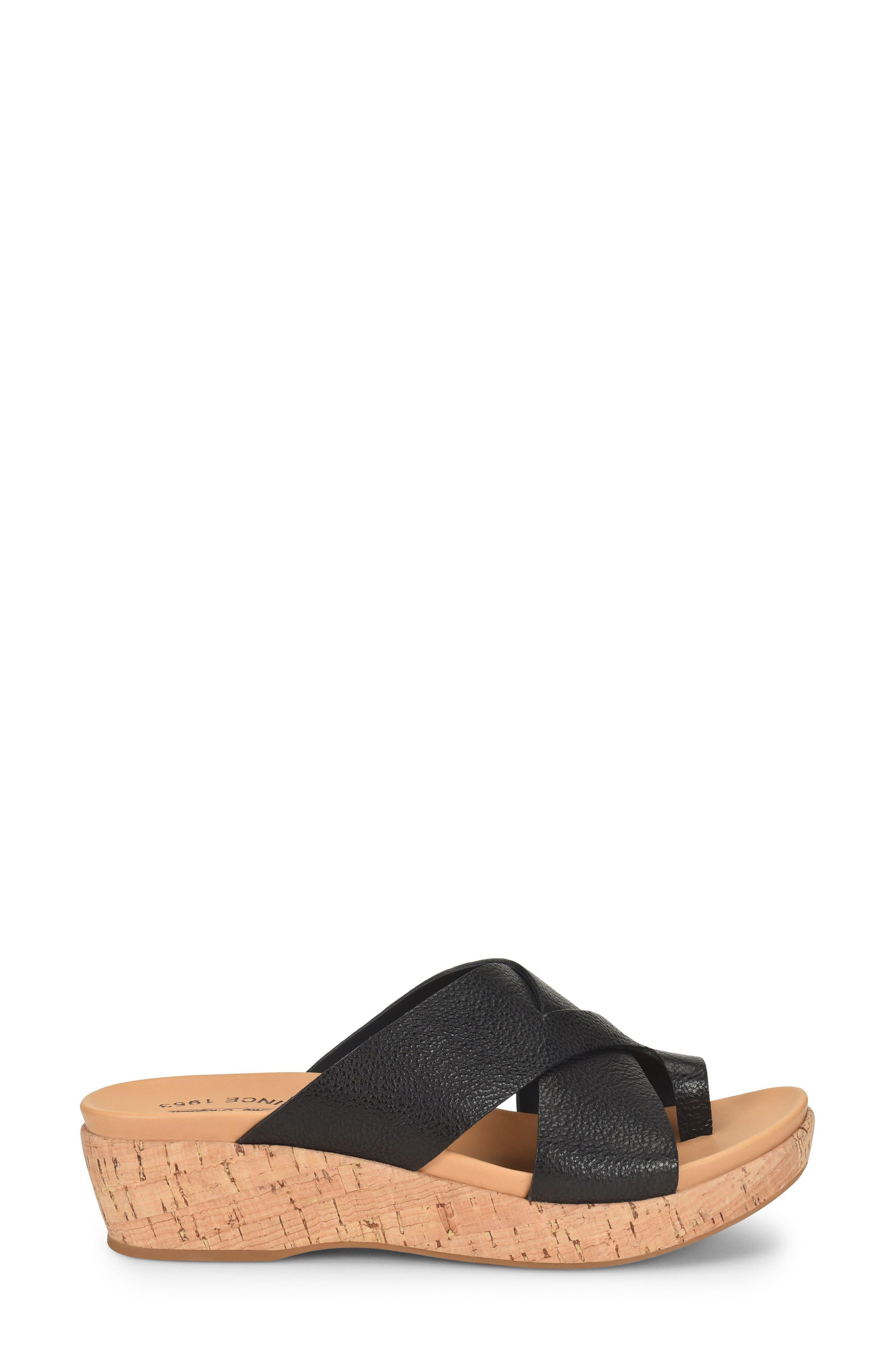 ,                             Baja Wedge Slide Sandal,                             Alternate thumbnail 3, color,                             BLACK LEATHER