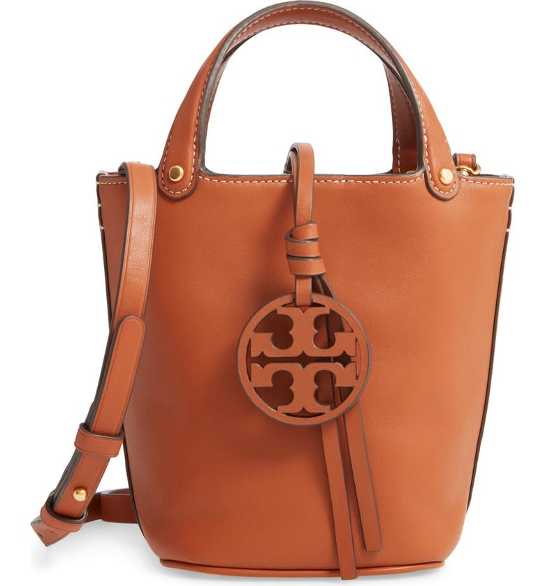 TORY BURCH Mini Miller Leather Bucket Bag, Main, color, AGED CAMELLO