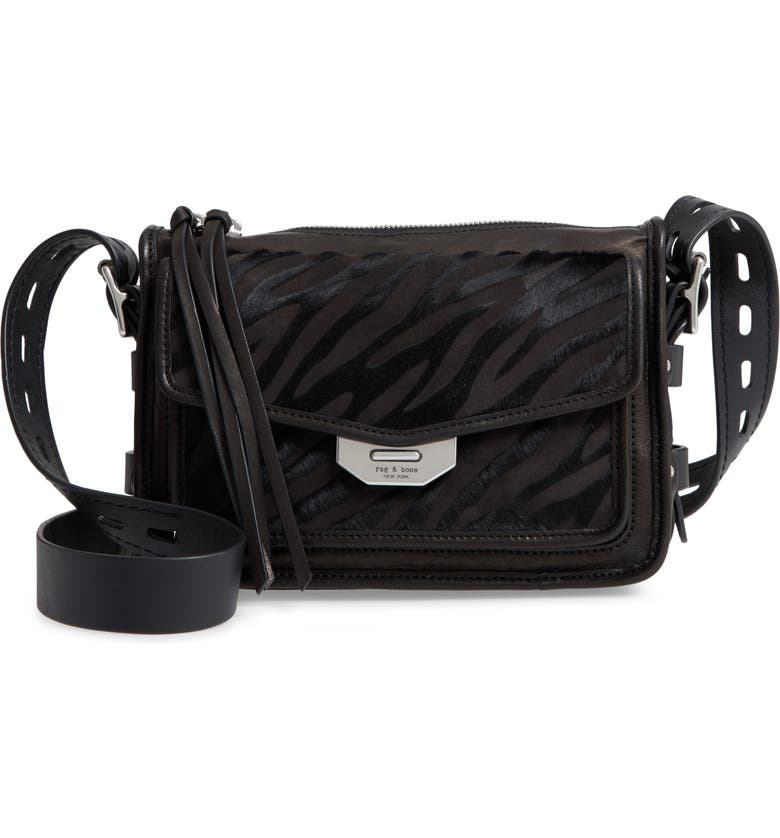 RAG & BONE Small Field Zebra Stripe Genuine Calf Hair Messenger Bag, Main, color, BLACK ZEBRA