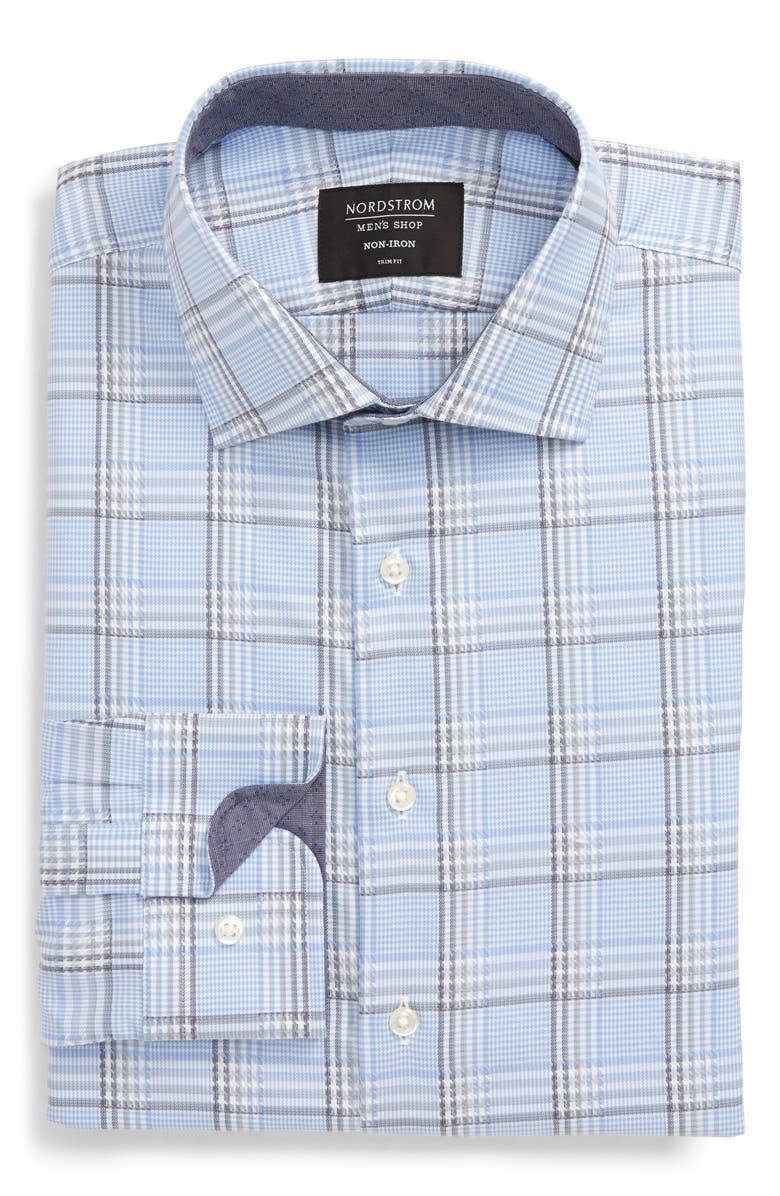 NORDSTROM MEN'S SHOP Trim Fit Non-Iron Plaid Dress Shirt, Main, color, BLUE ROBBIA