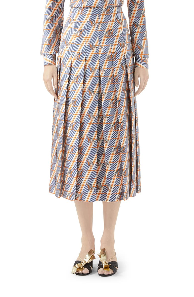 GUCCI Giraffe Heritage Twill Pleated Midi Skirt, Main, color, IVORY/ BLUE PRINTED