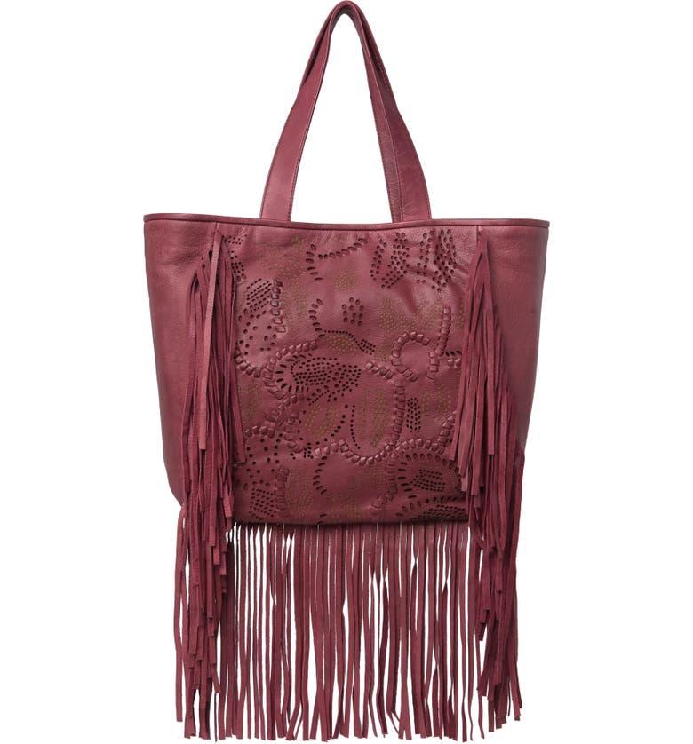 FRYE Vivian Leather Fringe Tote Bag, Main, color, OPEN RED