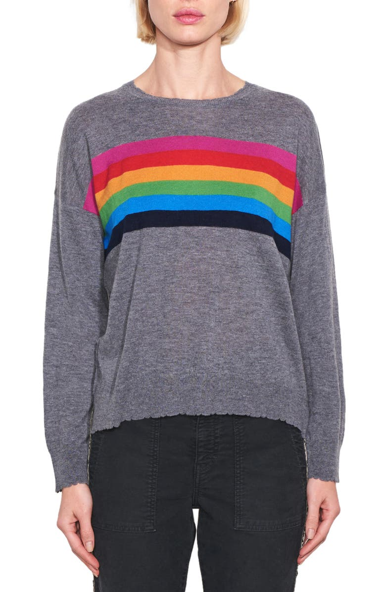 SUNDRY Rainbow Stripe Wool & Cashmere Sweater, Main, color, CHARCOAL