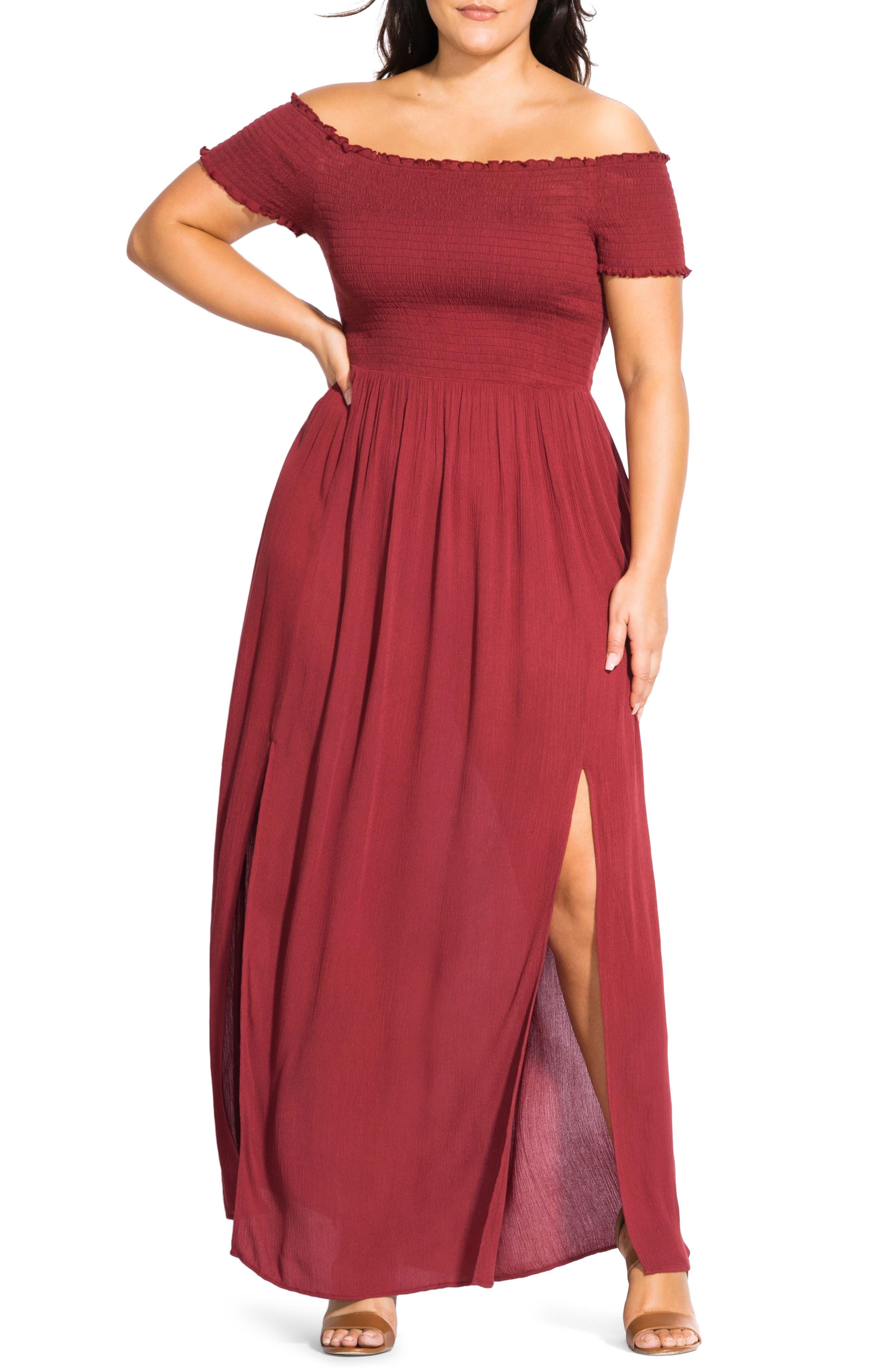 Plus Size City Chic Summer Passion Off The Shoulder Maxi Sundress, Orange
