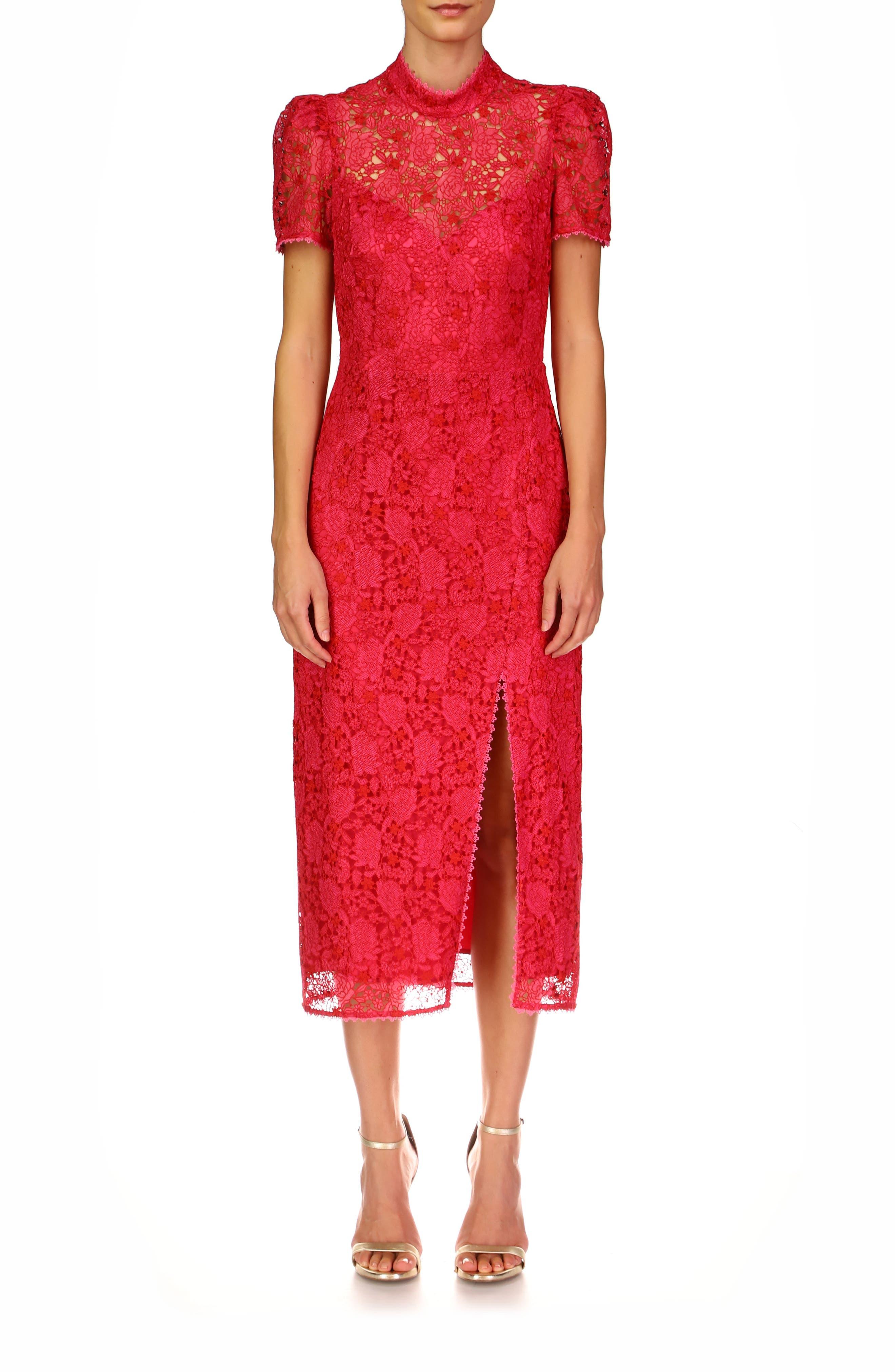Lace Column Midi Cocktail Dress