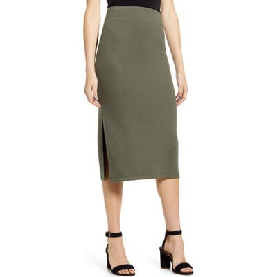 Chelsea28 Knit Pencil Skirt, Green