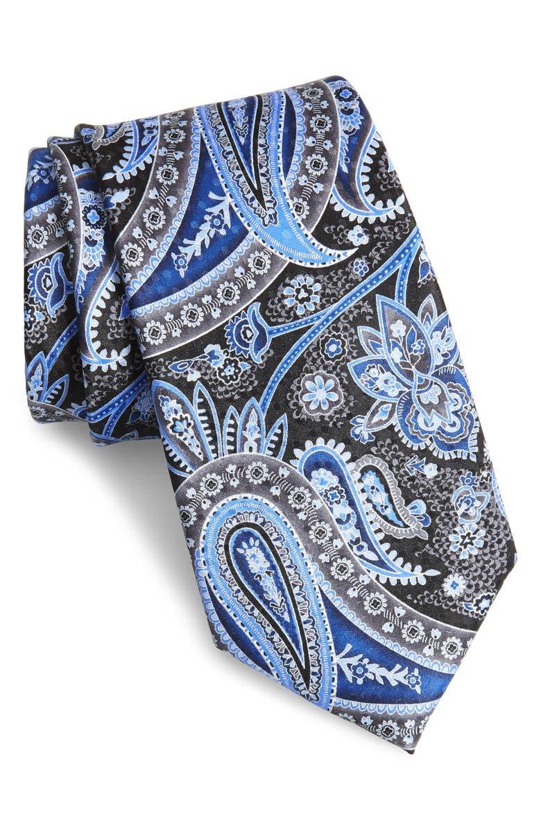 NORDSTROM MEN'S SHOP Paisley Silk Tie, Main, color, BLACK
