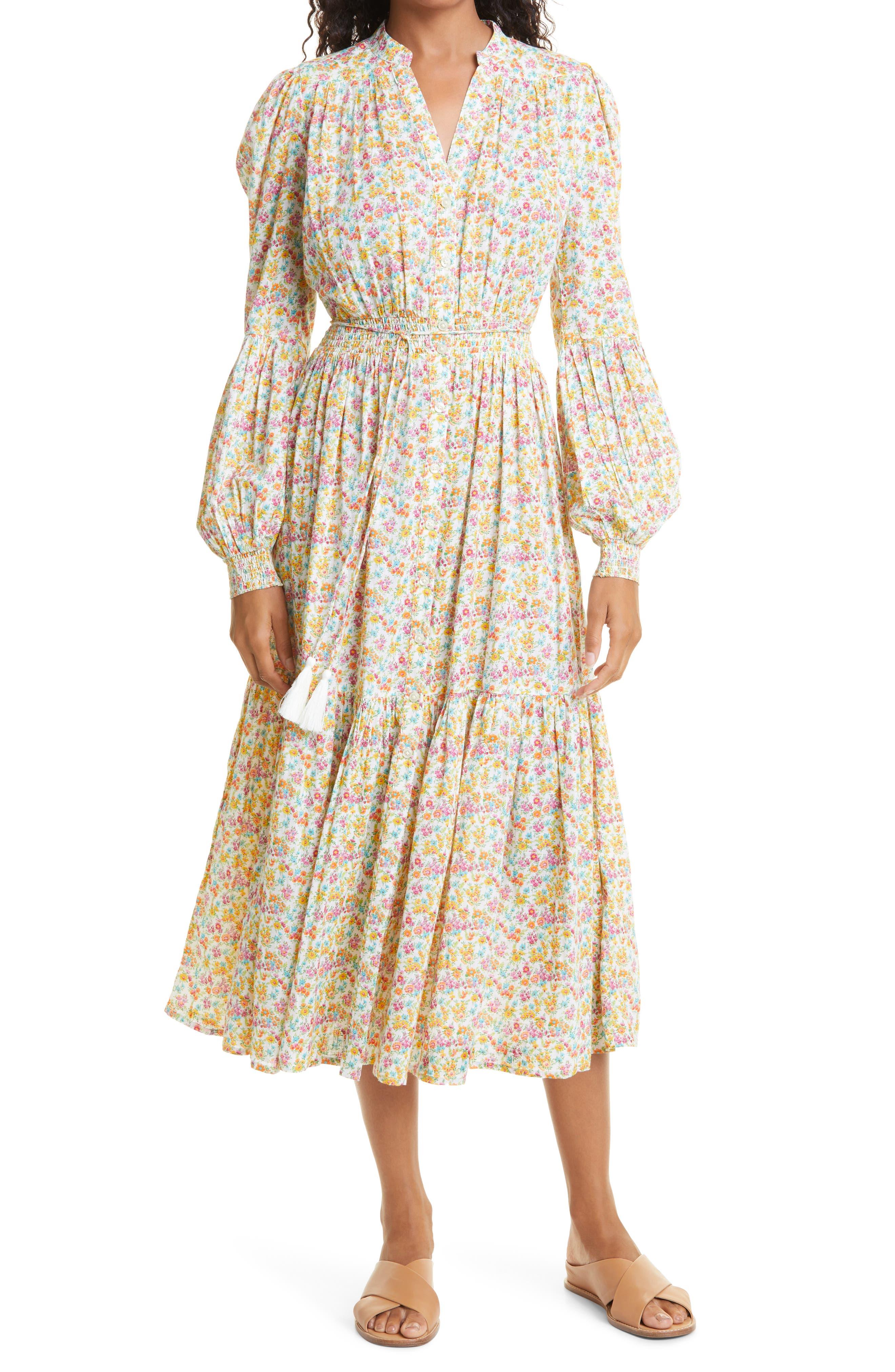 Flower Garden Long Sleeve Cotton Midi Dress