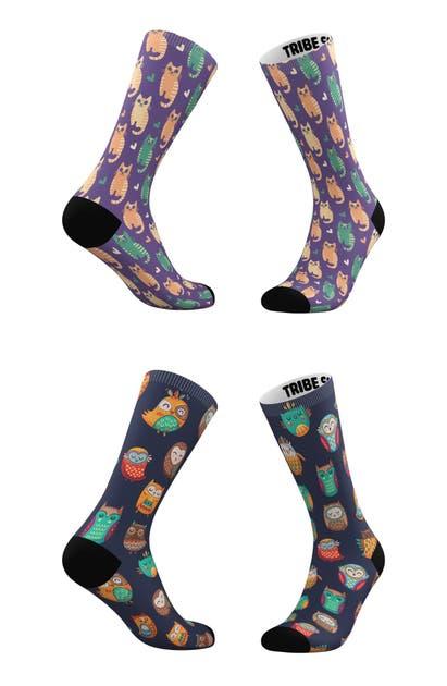 Tribe Socks Socks ASSORTED 2-PACK CATS & OWLS CREW SOCKS