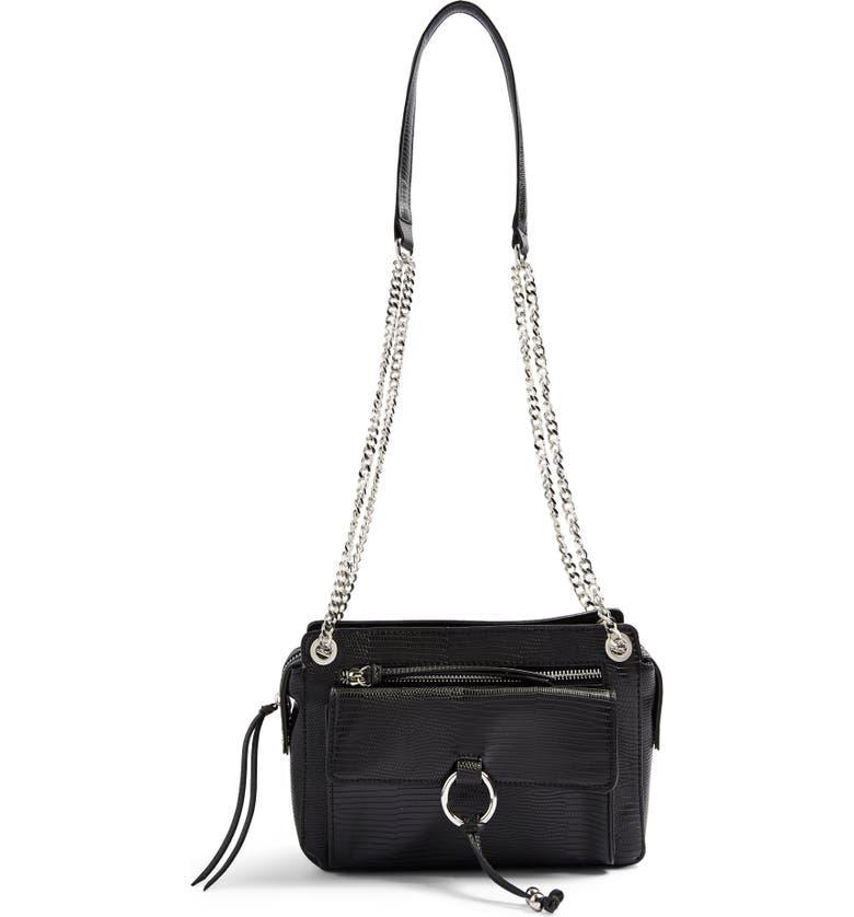 TOPSHOP Jamie Faux Leather Shoulder Bag, Main, color, BLACK