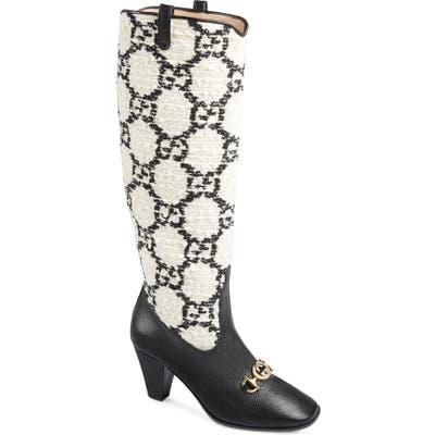 Gucci Zumi Gg Tweed Knee High Boot, Black