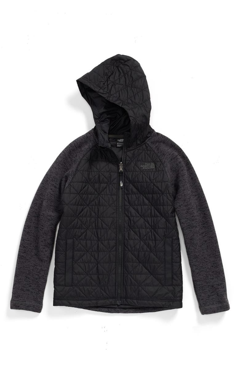 THE NORTH FACE Quilted Sweater Fleece Jacket, Main, color, TNF BLACK