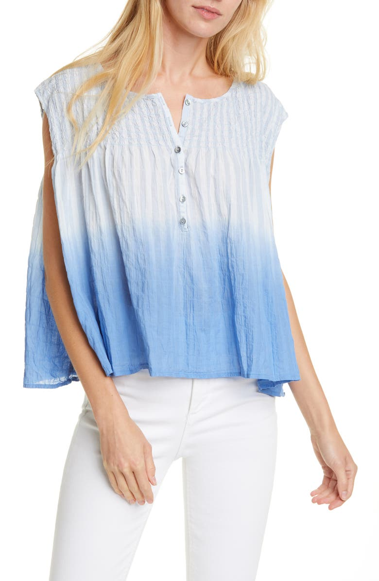 FREE PEOPLE Little Bit of Something Ombré Blouse, Main, color, BLUE