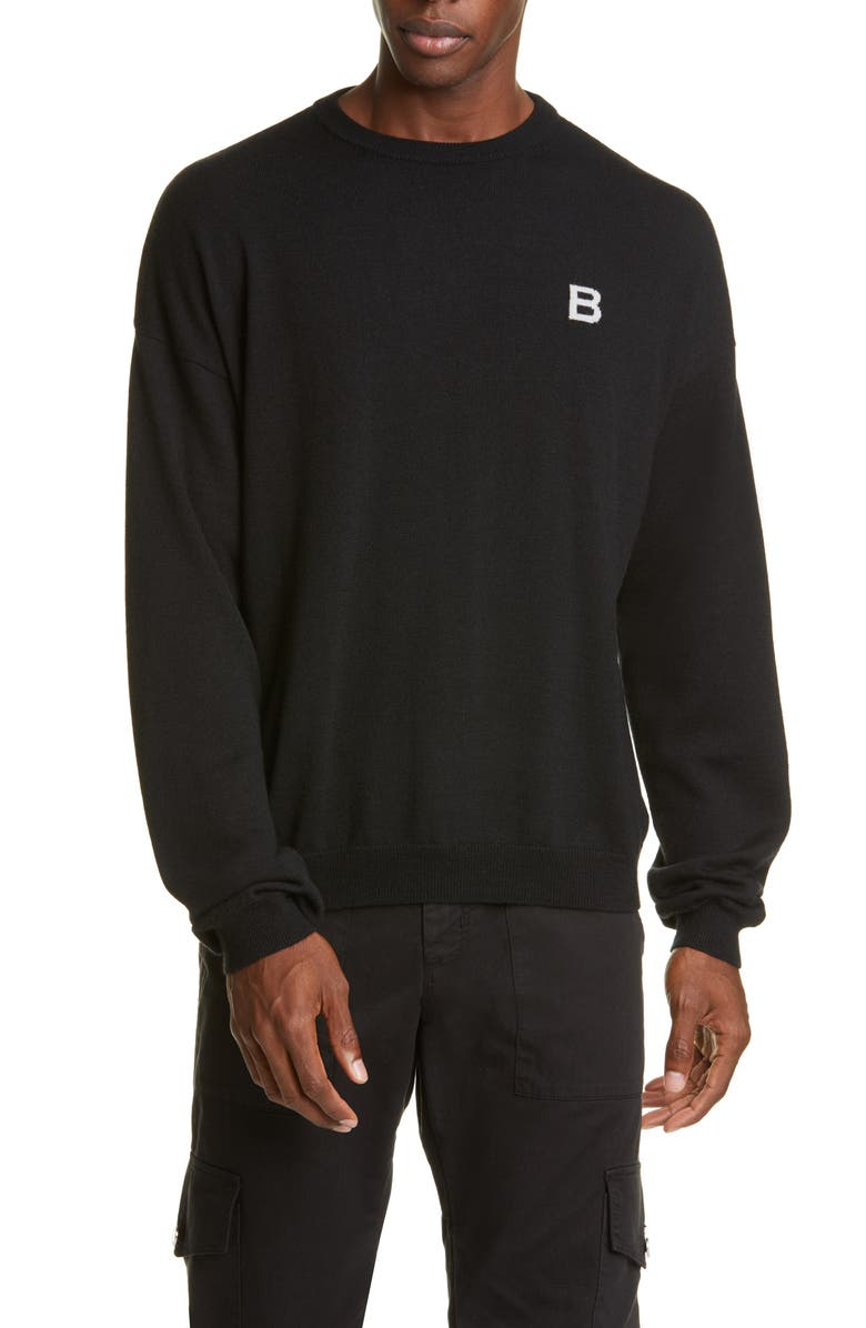 BILLY LOS ANGELES Little B Crewneck Wool & Cashmere Sweater, Main, color, BLACK