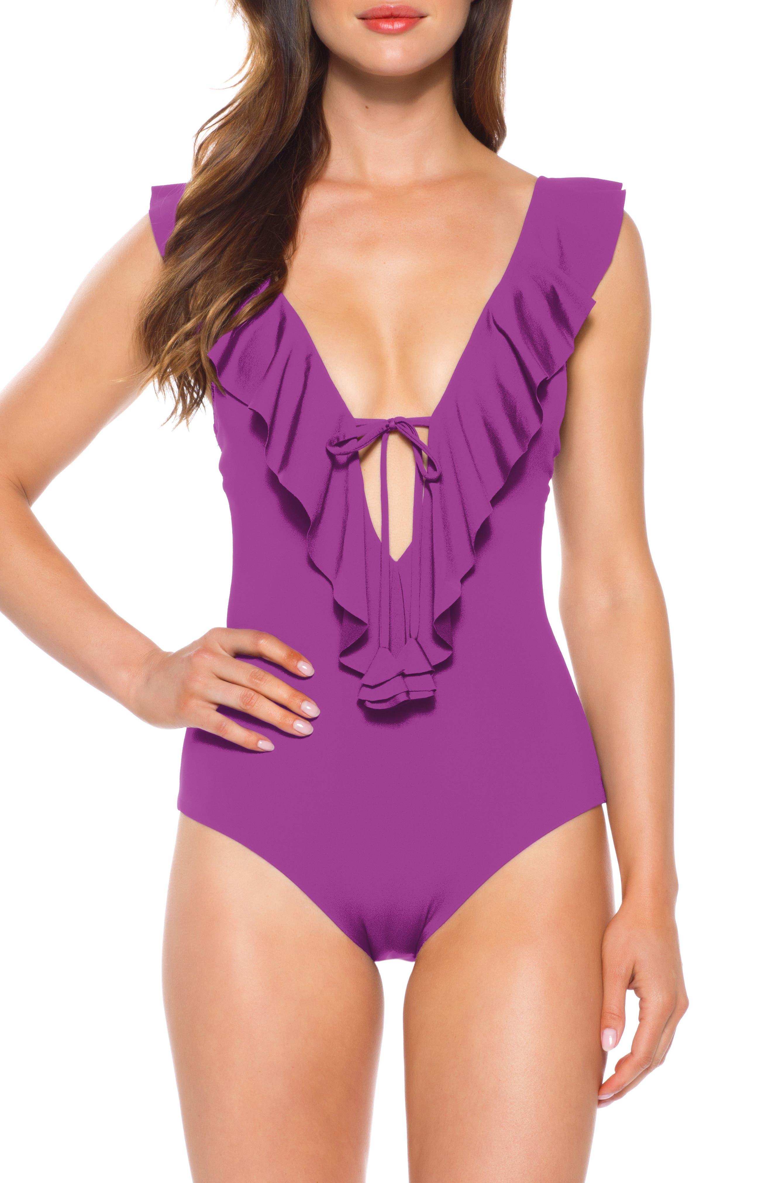 Becca Socialite Ruffle One-Piece Swimsuit, Purple