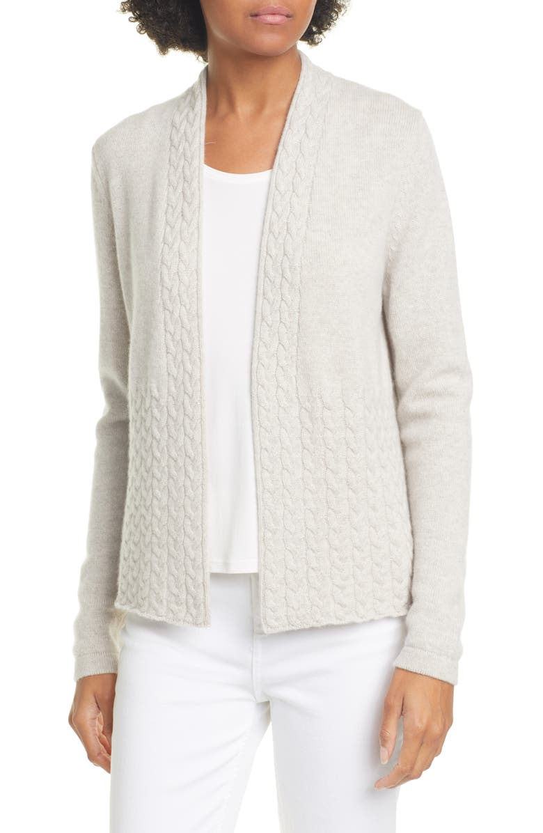 KINROSS Cable Cashmere Cardigan, Main, color, BISCOTTI