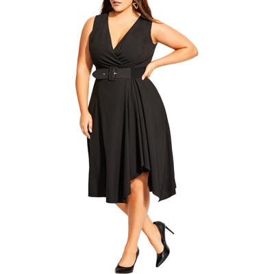 Plus Size City Chic Sleeveless Fit & Flare Dress, Black
