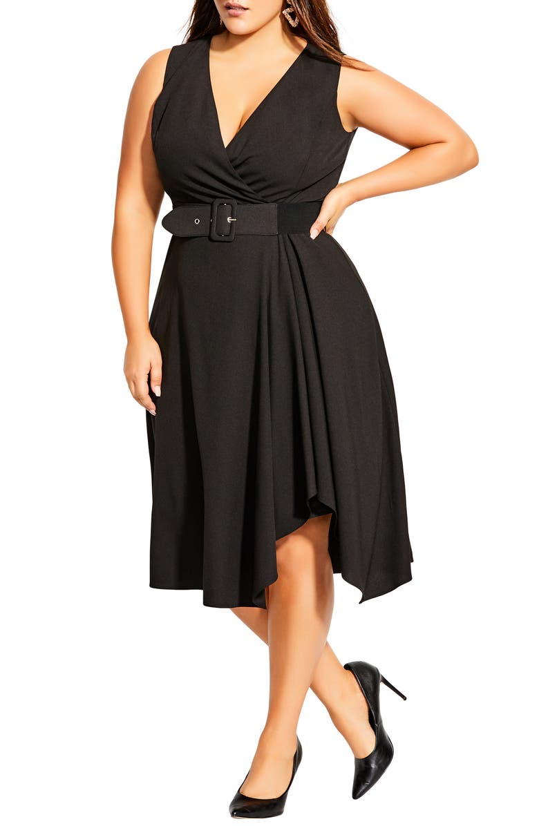 CITY CHIC Sleeveless Fit & Flare Dress, Main, color, BLACK